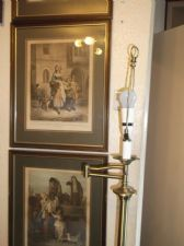 ELEGANT BELFRY ANTIQUE BRASS FINISH FLOOR LAMP WITH SWING ARM WORKING FINE